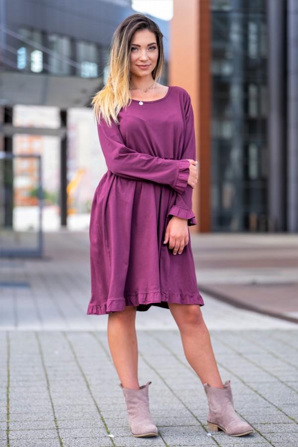 sukienka długi rękaw fiolet 1