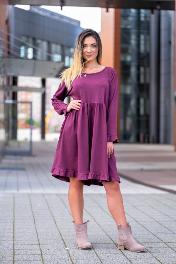 sukienka długi rękaw fiolet 2