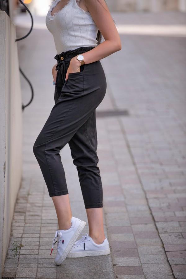 spodnie materialowe czarne 2