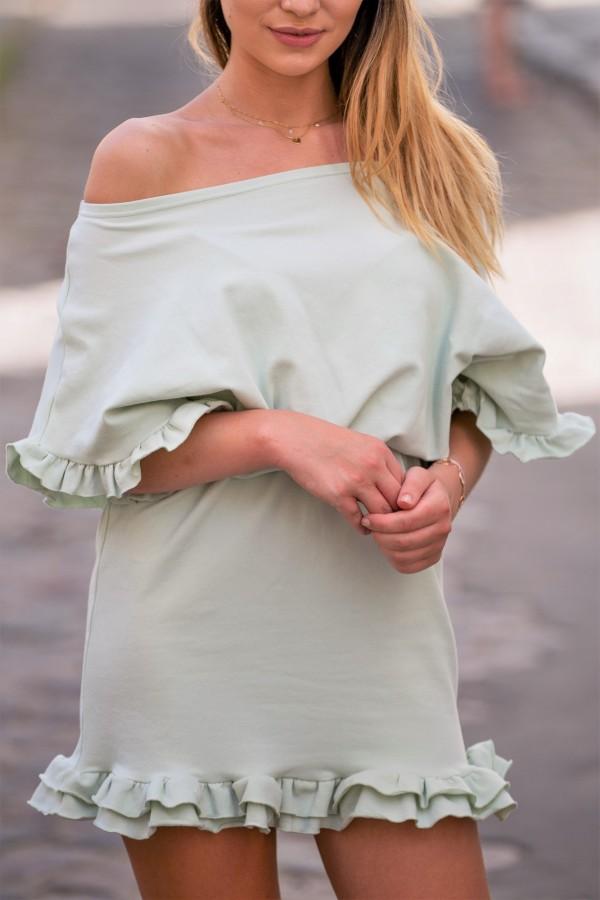 Sukienka dresowa z falbanką pistacja 3