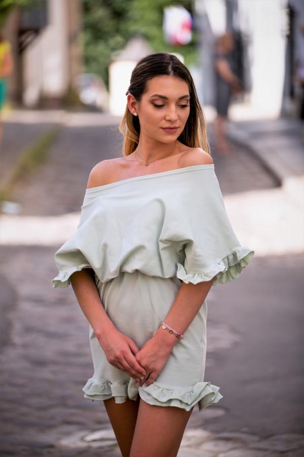 Sukienka dresowa z falbanką pistacja 4