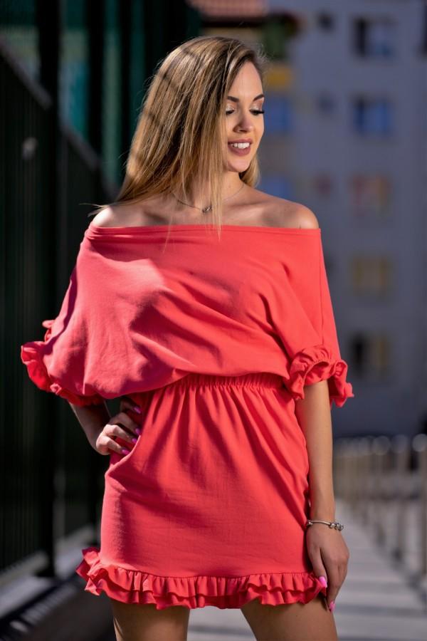 Sukienka dresowa z falbanką koral 2