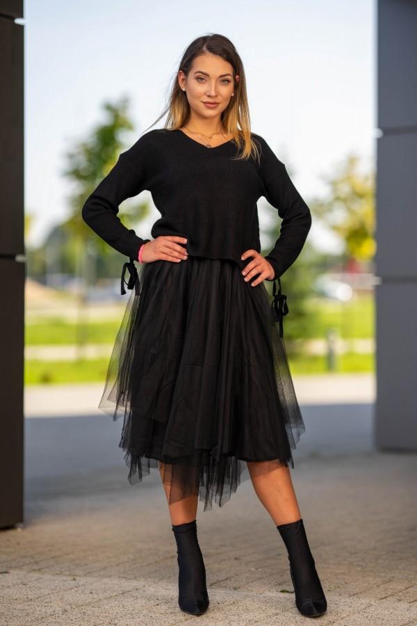 sukienka dwuczęściowa sweter i sukienka tiulowa czarna