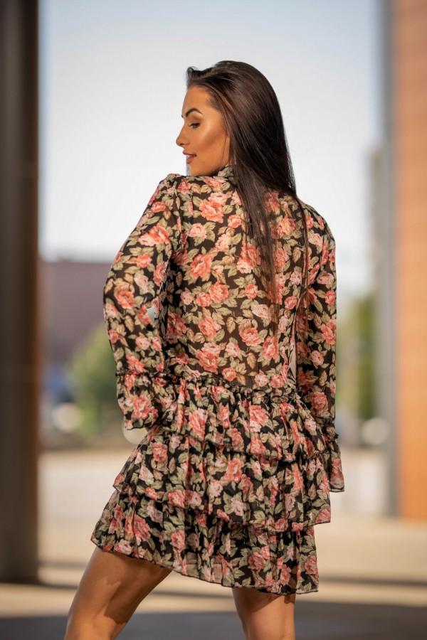 Sukienka szyfonowa falbanki róże 1