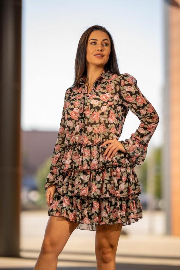 Sukienka szyfonowa falbanki róże 2