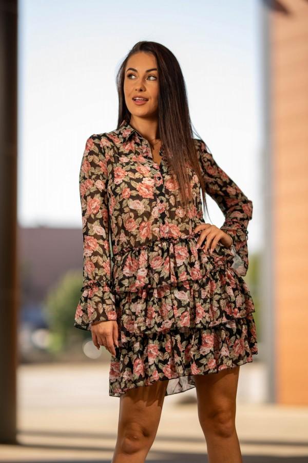 Sukienka szyfonowa falbanki róże 3