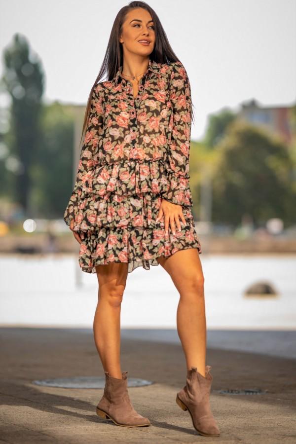Sukienka szyfonowa falbanki róże 4