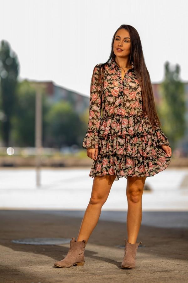 Sukienka szyfonowa falbanki róże 5