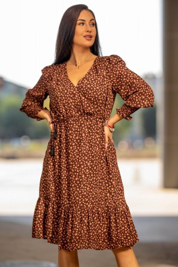 sukienka midi brązowa kropki 1