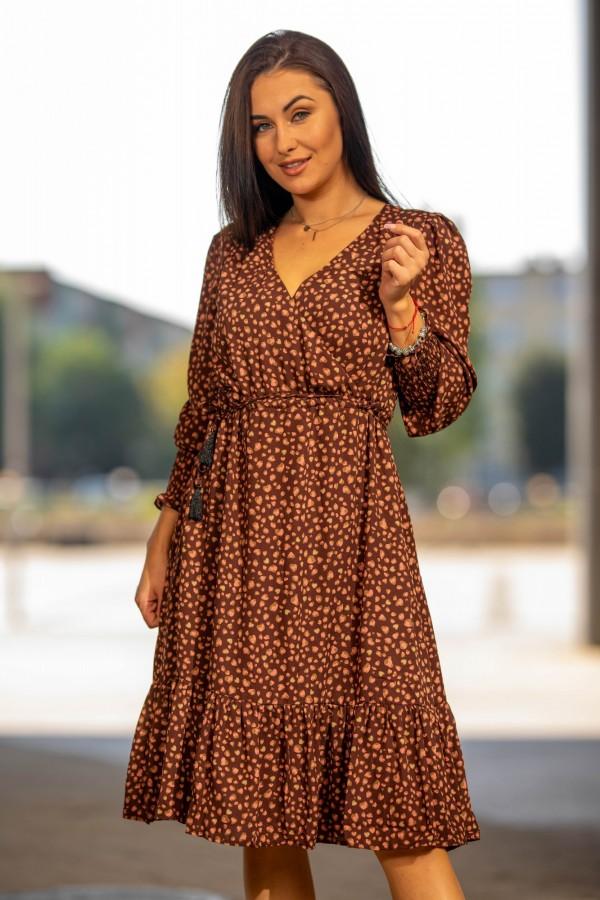 sukienka midi brązowa kropki 2