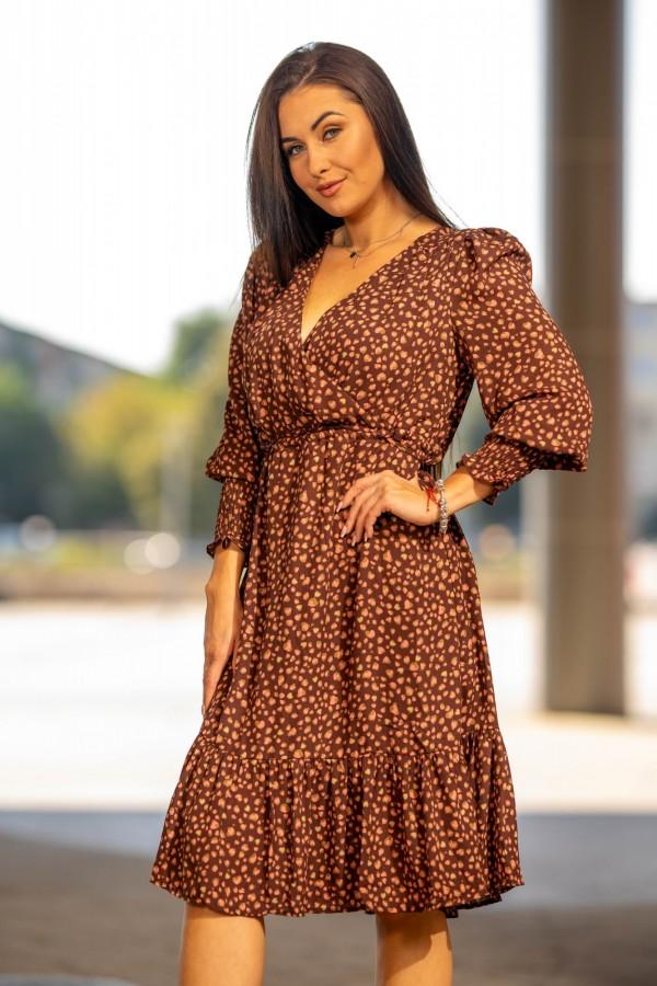 sukienka midi brązowa kropki 3