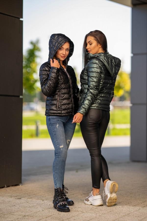 kurtka pikowana kaptur czarna 1