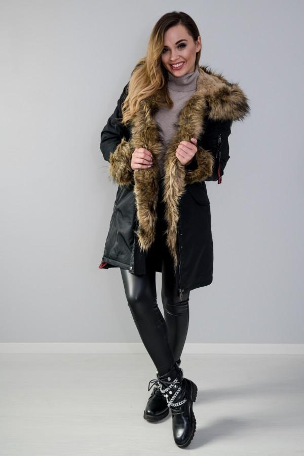Płaszcz kurtka ocieplana z futerkiem czarna 1