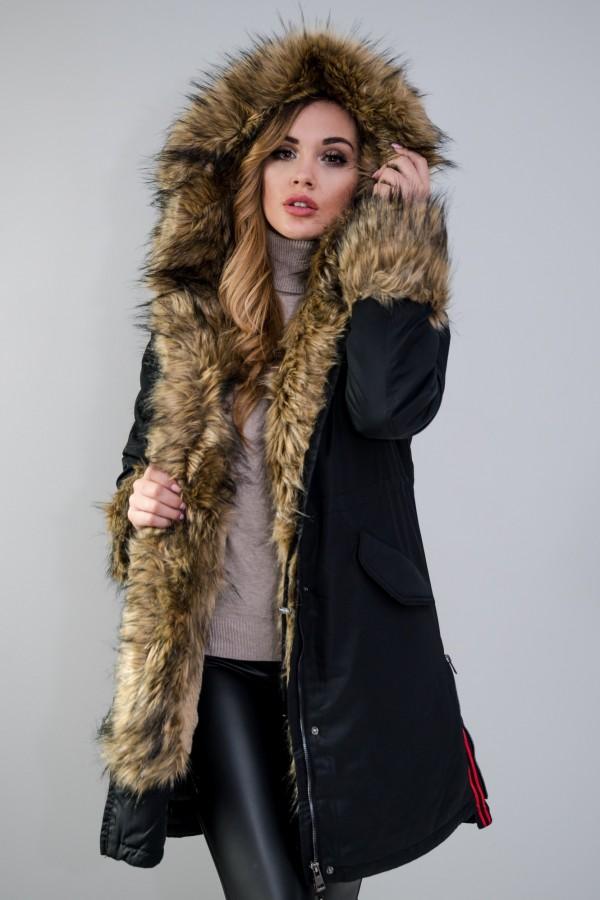 Płaszcz kurtka ocieplana z futerkiem czarna 3