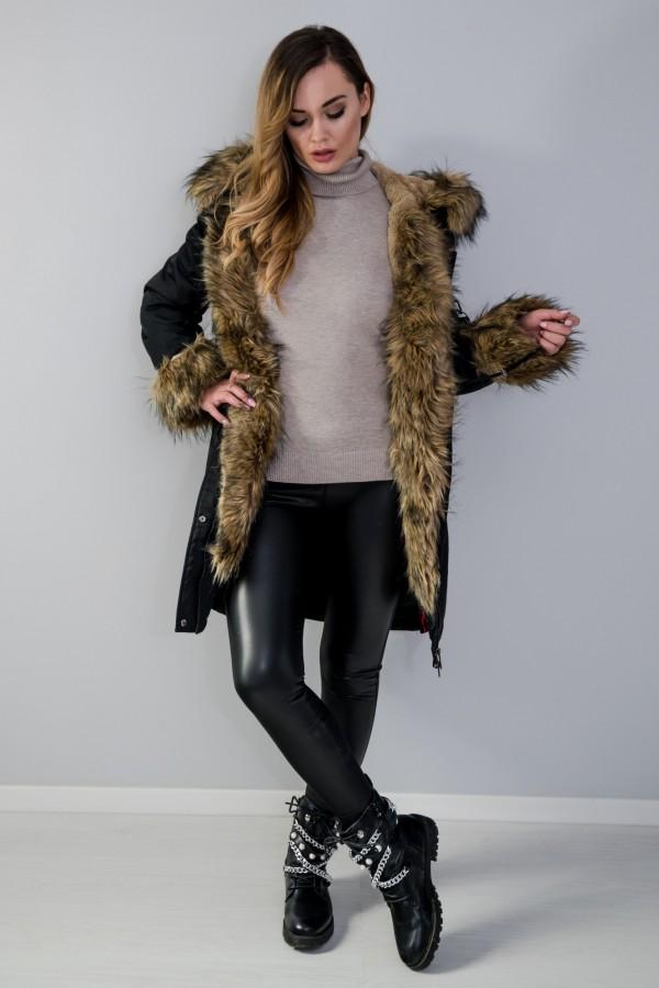 Płaszcz kurtka ocieplana z futerkiem czarna 6