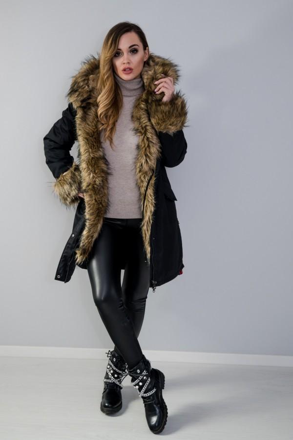 Płaszcz kurtka ocieplana z futerkiem czarna 7