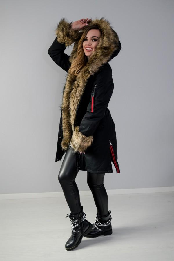Płaszcz kurtka ocieplana z futerkiem czarna 10