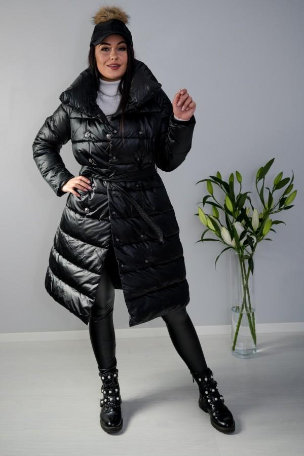 Płaszcz kurtka pikowana z paskiem czarna