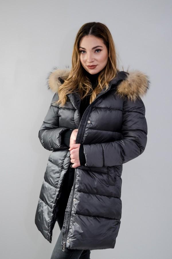 Płaszcz pikowany szary futro 7