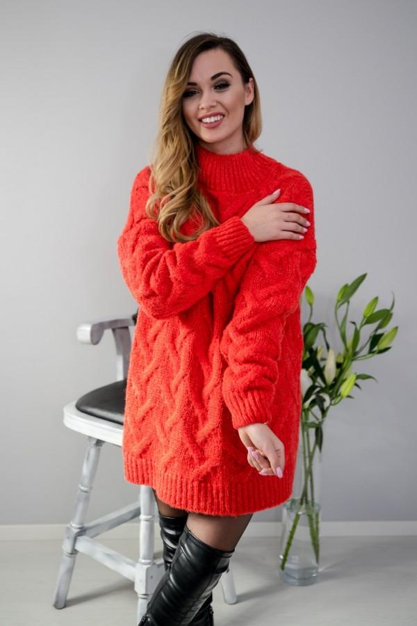 sweter tunika warkocz malina