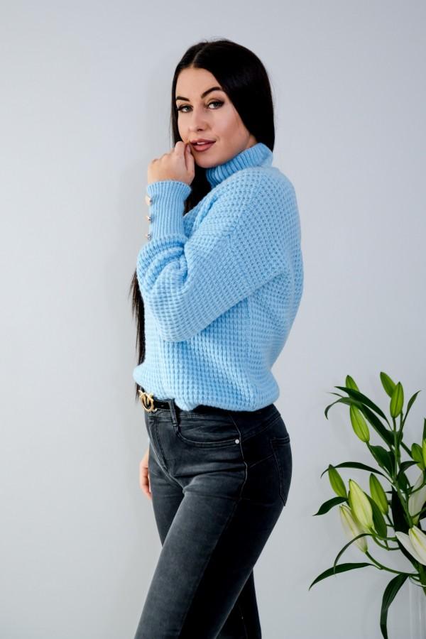 sweter niebieski półgolf guziczki 4