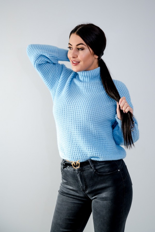sweter niebieski półgolf guziczki 5