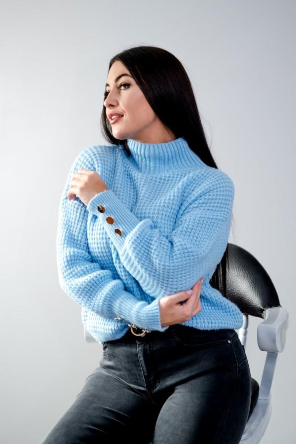sweter niebieski półgolf guziczki 6