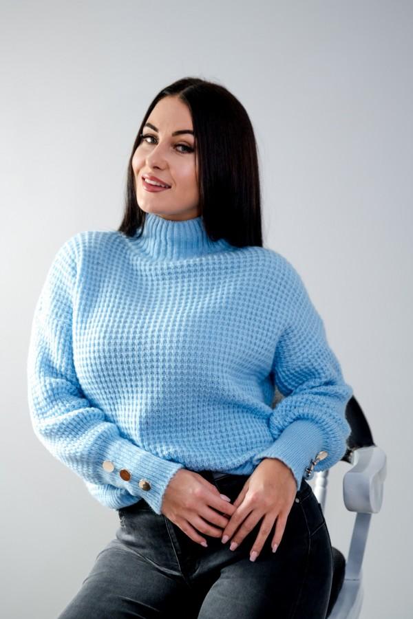 sweter niebieski półgolf guziczki 7