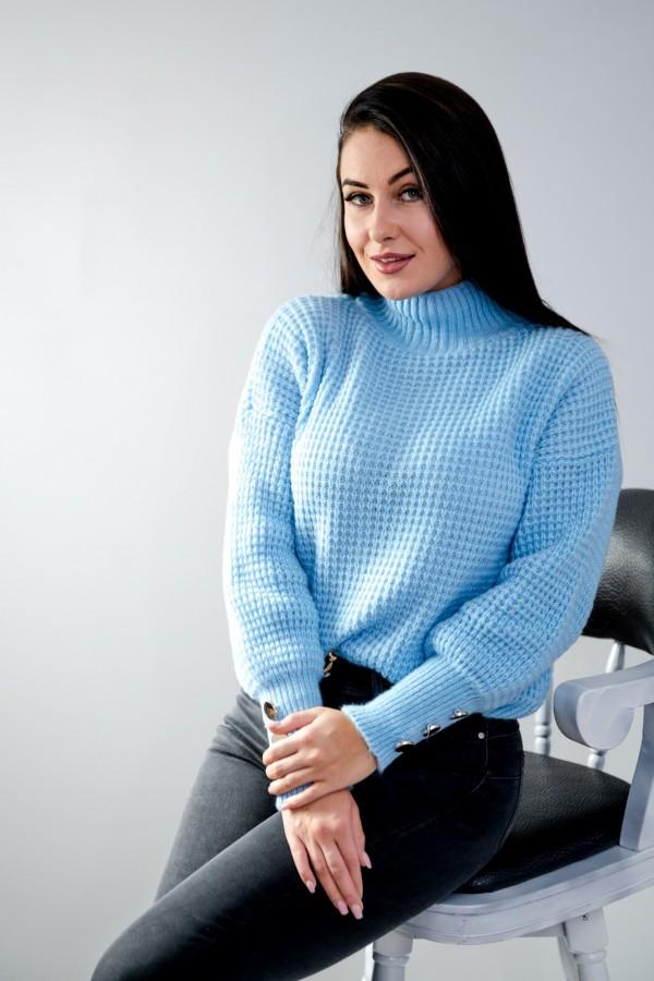 sweter niebieski półgolf guziczki 8