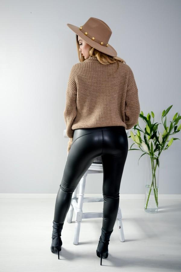 sweter brązowy półgolf guziczki 5