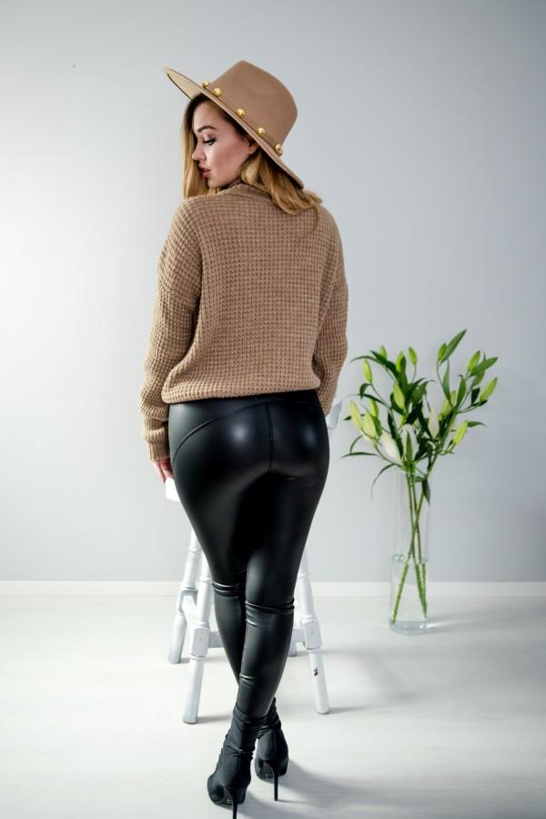 sweter brązowy półgolf guziczki 6