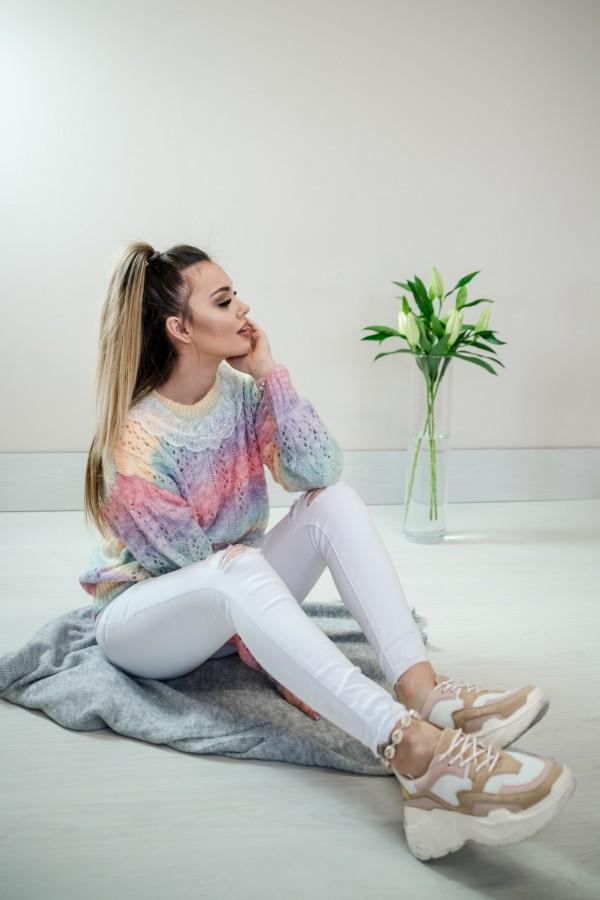 sweter pastelowy ombre kołnierzyk 1