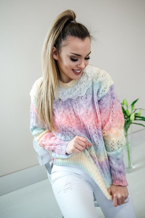 sweter pastelowy ombre kołnierzyk 5