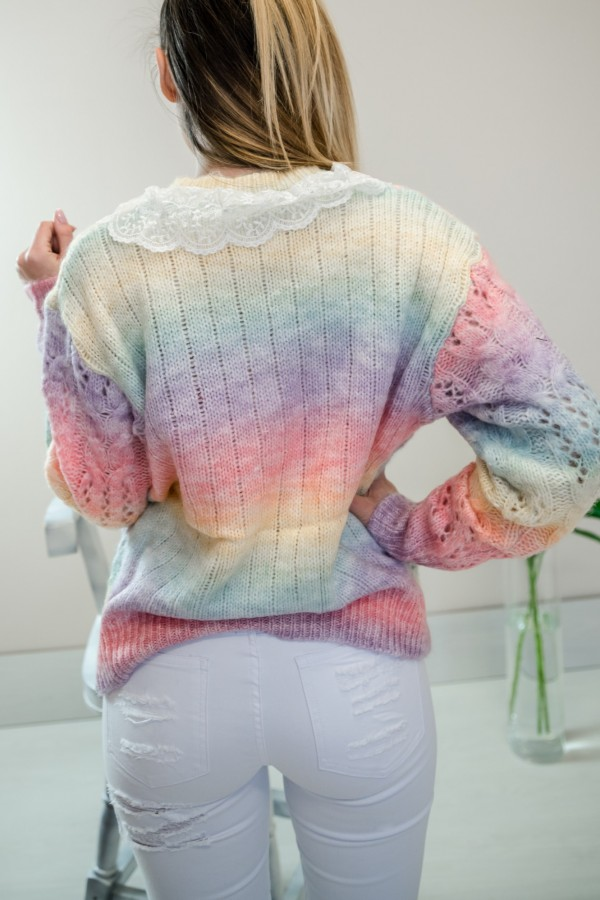 sweter pastelowy ombre kołnierzyk 9