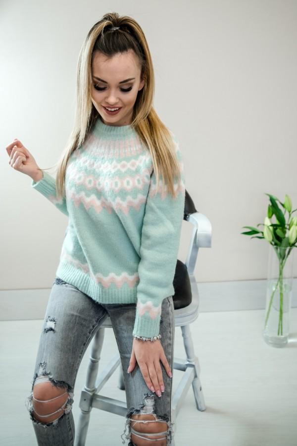 Sweter pastelowy mięta 2