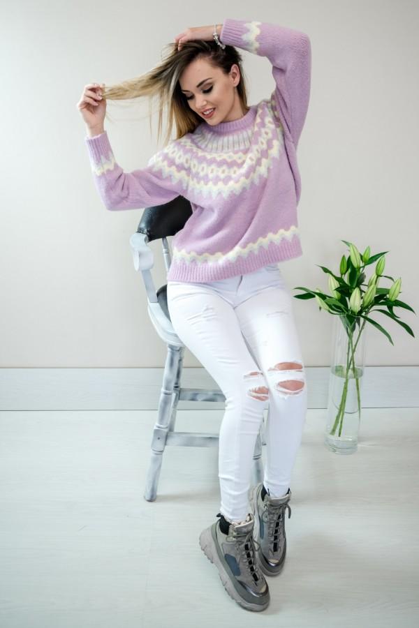 sweter pastelowy fiolet 1