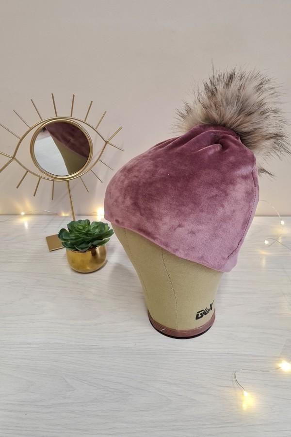 czapka welurowa z pomponem różowa