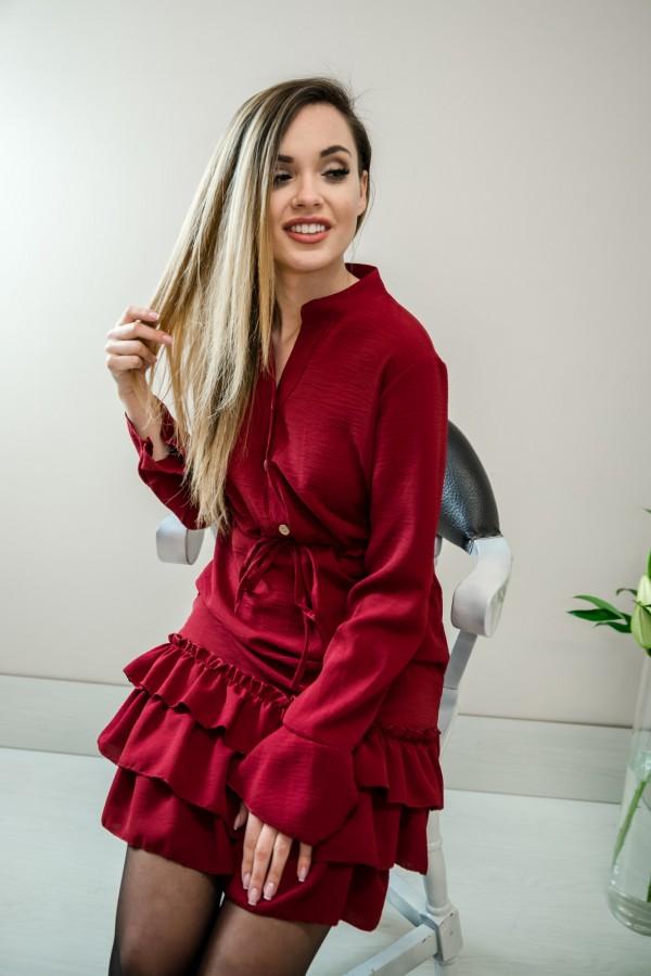 Sukienka z falbanką bordo 2