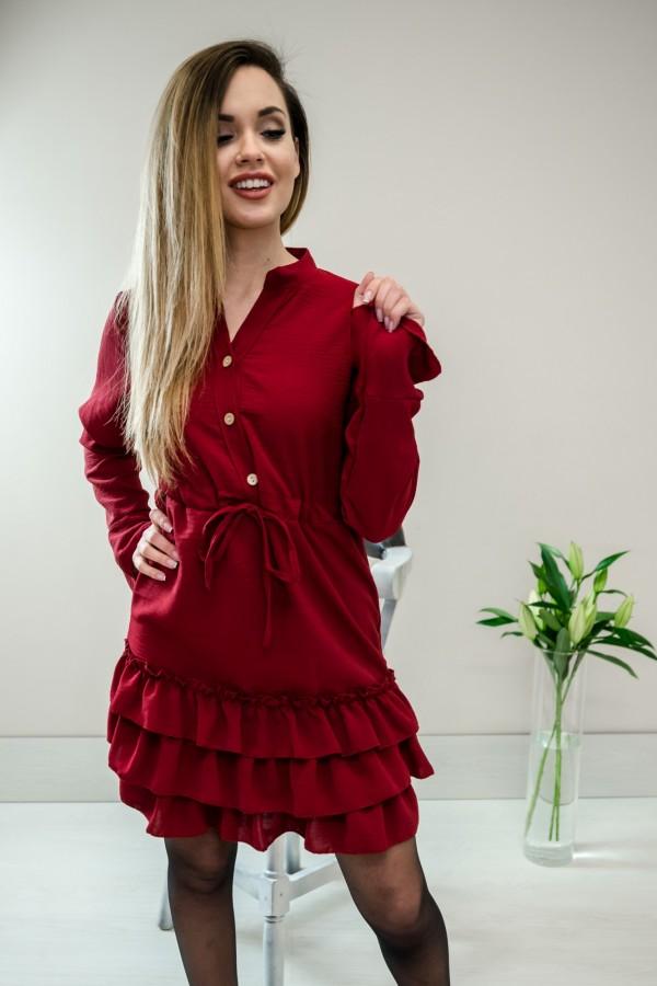 Sukienka z falbanką bordo 5