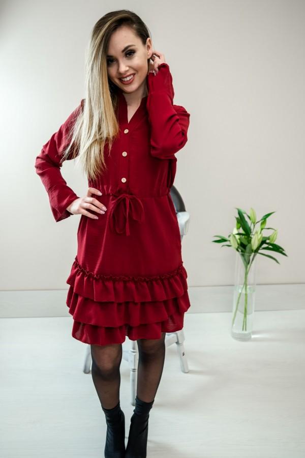 Sukienka z falbanką bordo 7