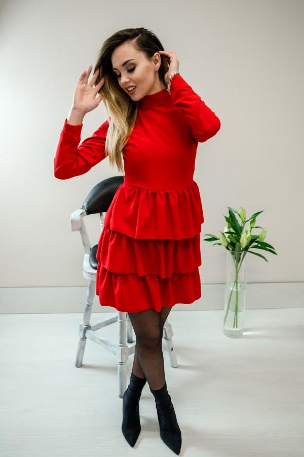 Sukienka falbanki półgolf czerwony