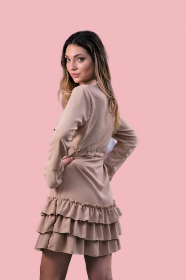 Sukienka z falbanką beż