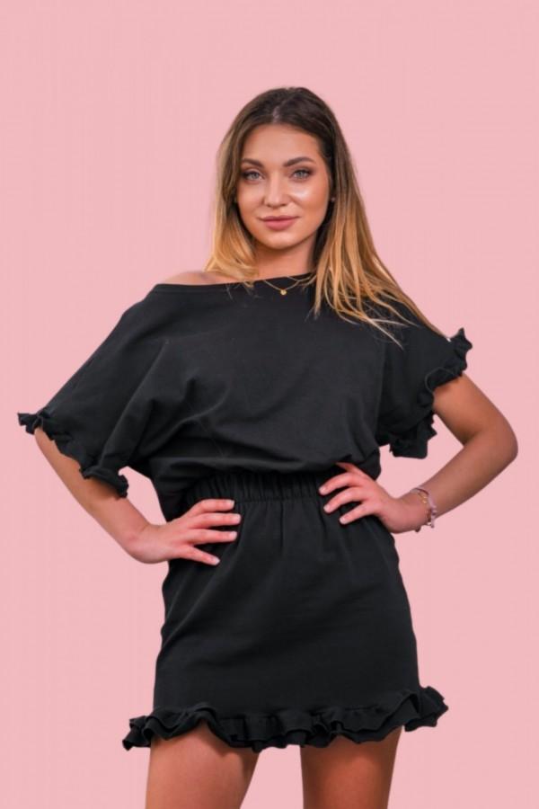 Sukienka dresowa z falbanką czarna
