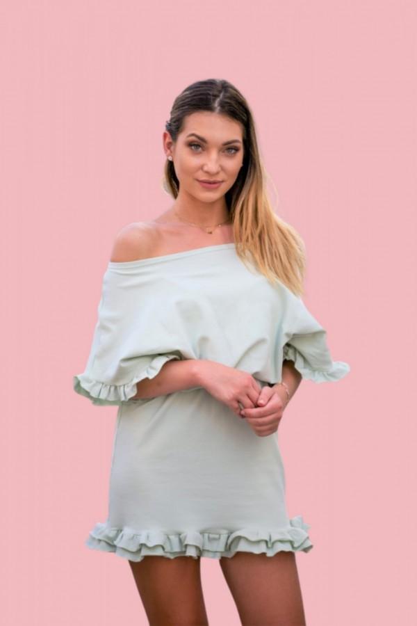 Sukienka dresowa z falbanką pistacja