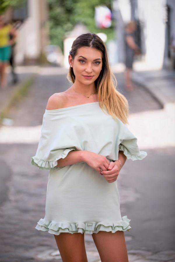 Sukienka dresowa z falbanką pistacja 1