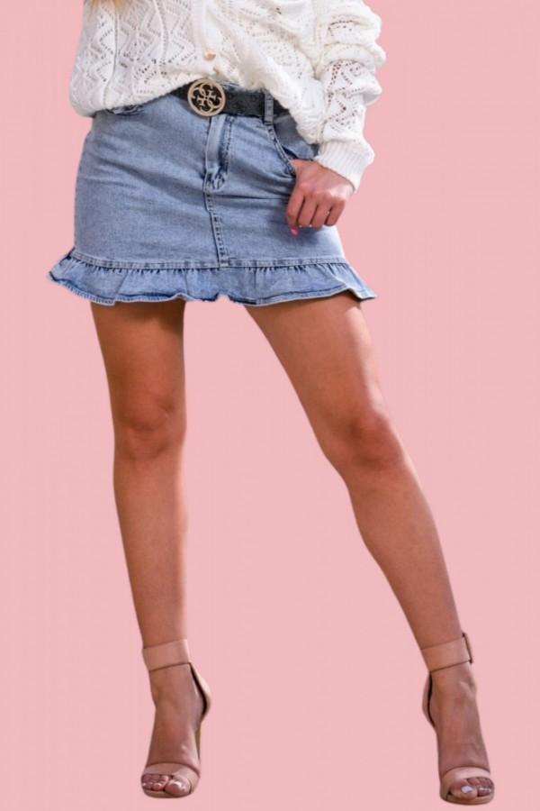 spodnica jeansowa z falbanką