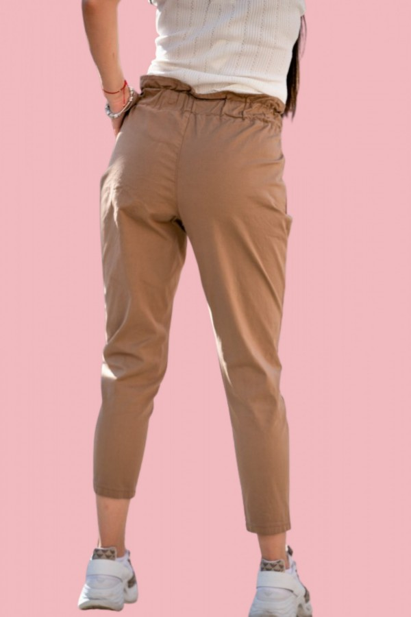 spodnie materiałowe brązowe