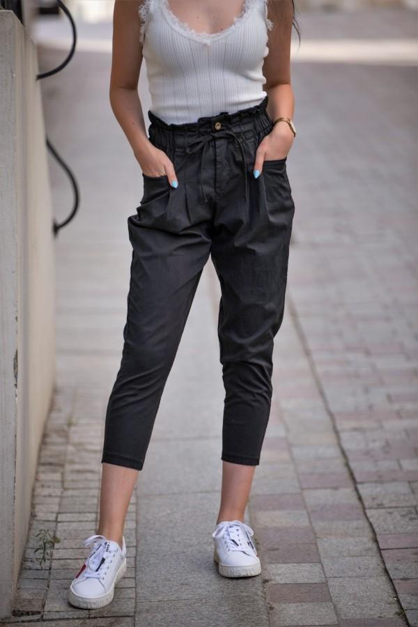 spodnie materialowe czarne 3