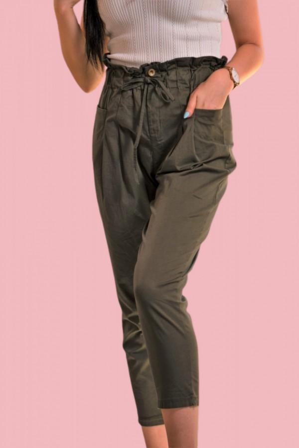 spodnie materialowe zielone