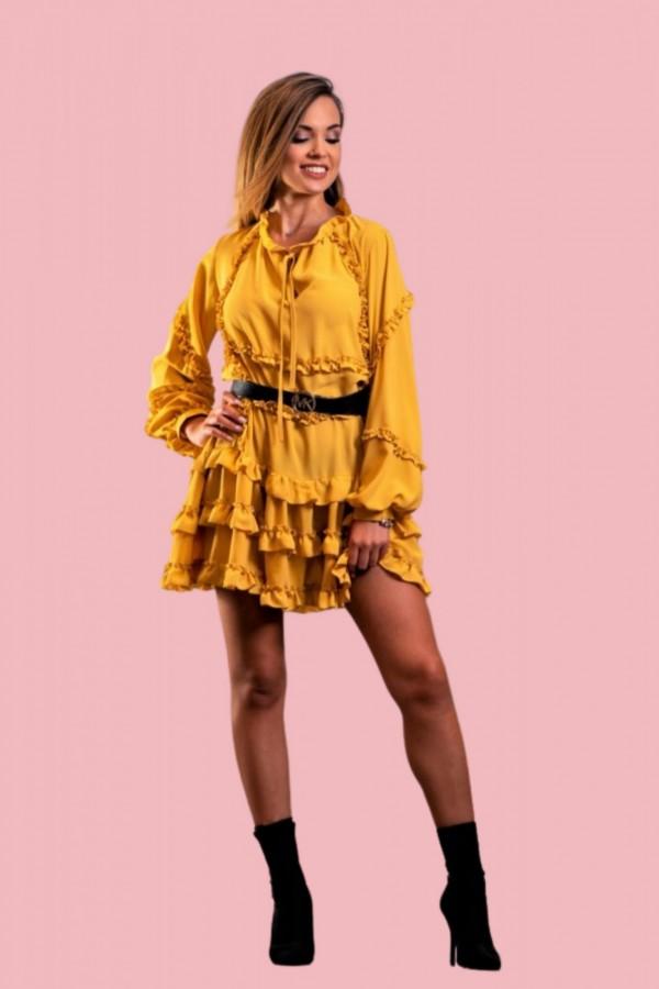 sukienka z falbanka zolta